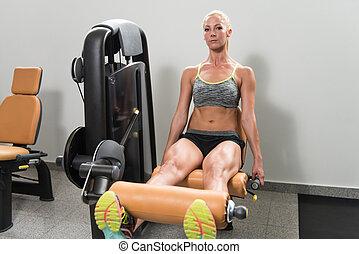 maskin, ben, kvinna, ung, övning