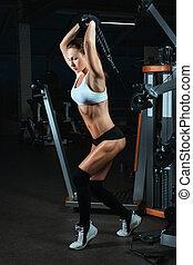 maskin, bodybuilders., kvinna, vikter, lyftande