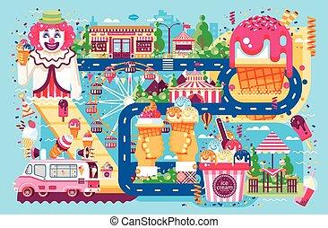 maskin, cafe, nöje, grädde, olik, is, lägenhet, säljande, slagen, affär, mat, parkera, stil, illustration, choklad, karamell, frukt, vanilj, försäljning, clown, fyllande, vektor, hjul, måltiden, väg