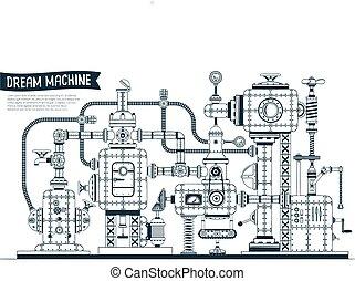 maskin, fantastisk, steampunk, komplex