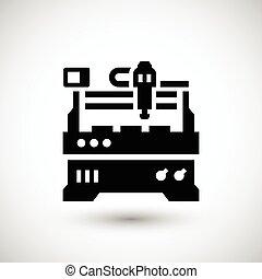 maskin, fräsning, cnc, ikon