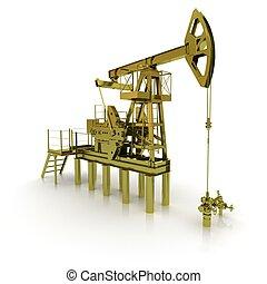 maskin, gyllene, pump, olja