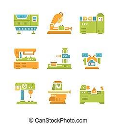 maskin, lägenhet, verktyg, sätta, ikonen