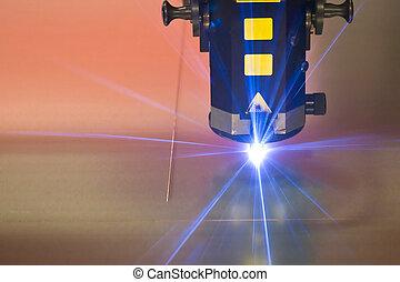 maskin, laser, klippande, teknologi