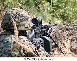 maskin, soldat, hans, skjutning gevär