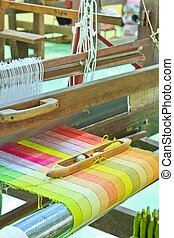 maskin, thailand, silke, vävt, old-style