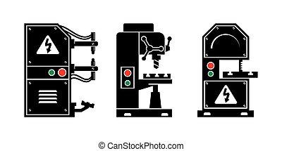 maskin, tool., vektor, svart, ikonen