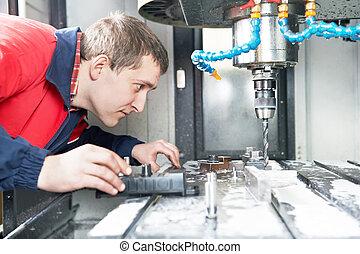 maskine, arbejder, fungerer, cnc, centrum