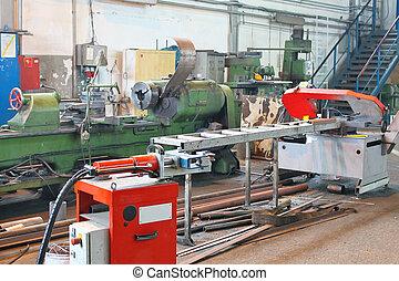 maskine, er, ind, produktion, værksted, i, den, plante