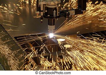 maskine, industri, skær, plasma, metalwork
