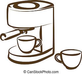 maskine, kaffe
