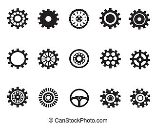 maskine, vektor, silhouetted, indgreb