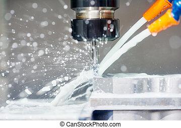 maskinen bearbetar, metall, fräsning, arbete