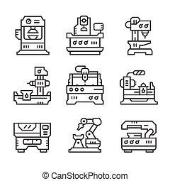 maskinen bearbetar, sätta, fodra, ikonen