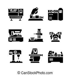 maskinen bearbetar, sätta, ikonen