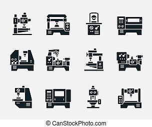 maskinen bearbetar, vektor, sätta, ikonen