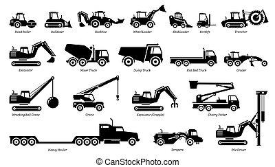 maskineri, tung, traktorer, konstruktion, liste, icons., køretøjene