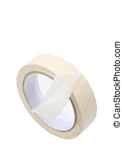 masking tape - roll of masking tape isolated on white...