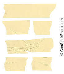 Strips of masking tape. Isolated on white. Clipping path included.