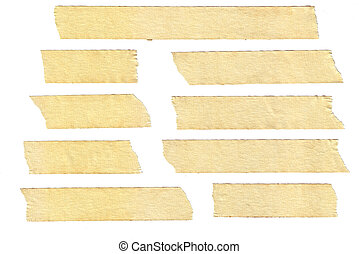 masking tape textures with varied length, isolated on white,...