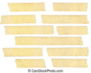 masking tape textures with varied length, isolated on white...