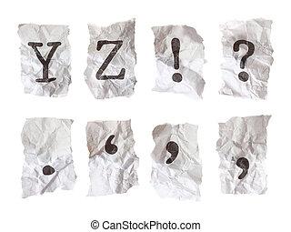 maskinskriven, alfabet, på, skrynkligt, paper., varje,...