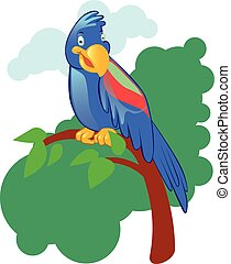 maskot, bakgrund, isolerat, papegoja, tecknad film