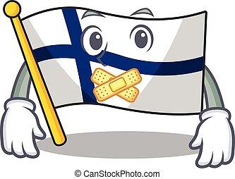 maskot, finland, stil, tyst, tecken, gest, flagga, tecknad film, tillverkning