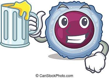 maskot, glas, cell, lymphocyte, design, stor, lycklig