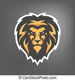 maskot,  Illustration, lejon, vektor, huvud,  Sport