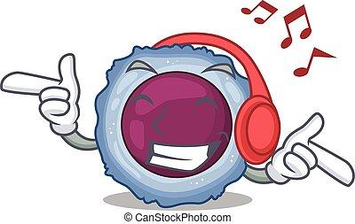 maskot, lyssnande, tecken, cell, lymphocyte, musik, tecknad ...