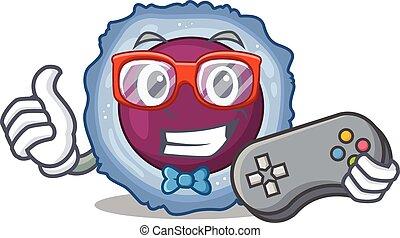 maskot, smiley, stil, cell, lymphocyte, tecknad film, gamer