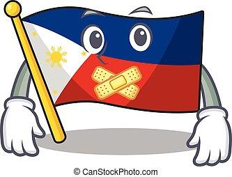 maskot, stil, tyst, tecken, gest, flagga, tecknad film, filippinerna, tillverkning