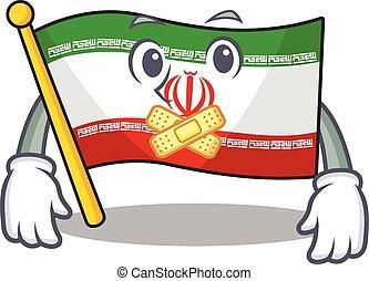 maskot, stil, tyst, tecken, gest, iran flagg, tecknad film, tillverkning