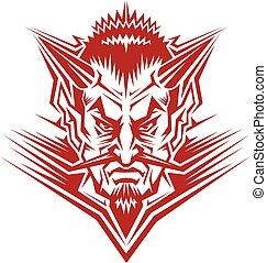 maskotka, głowa, diabeł