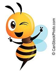 maskotka, pokaz, znak, sprytny, ręka, pszczoła, wektor, litera, zwycięstwo, rysunek, -