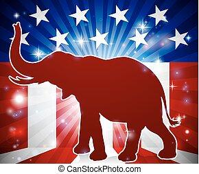 maskotka, republikanin, polityczny, słoń