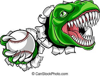 maskottchen, baseball, dinosaurierer, spieler, sport, tier