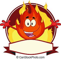 maskottchen, flamme, karikatur, etikett
