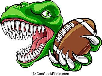 maskottchen, fußball, amerikanische , sport, dinosaurierer,...