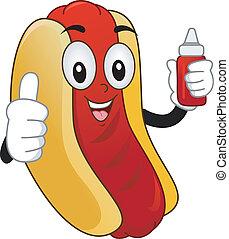 maskottchen, hotdog, butterbrot