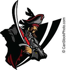 maskottchen, hut, gr, schwert, pirat