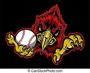 maskottchen, kardinal, baseball