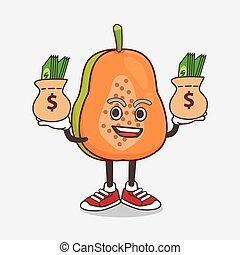 maskottchen, karikatur, fruechte, papaya, hände, zeichen, geld