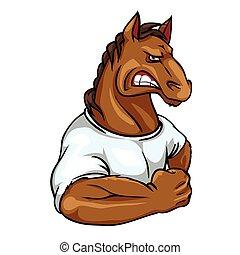 maskottchen, pferd, etikett, mannschaft, design.