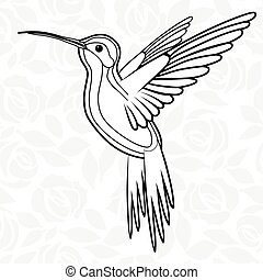maskottchen, t-shirt, skizze, kolibris, colibri, plakat, abbildung, t�towierung, t-shirt., vektor, ikone, oder, logo, design.