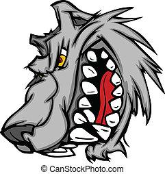 maskottchen, vektor, wolf, karikatur, sna