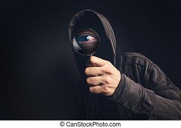 maskovaný, osoba, strašidelný, barometr, bizarní, zvetšovací sklo
