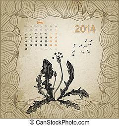 maskros, årgång, hand, penna, artistisk, bläck, oavgjord, kalender