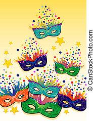 Masks colorful gradient background